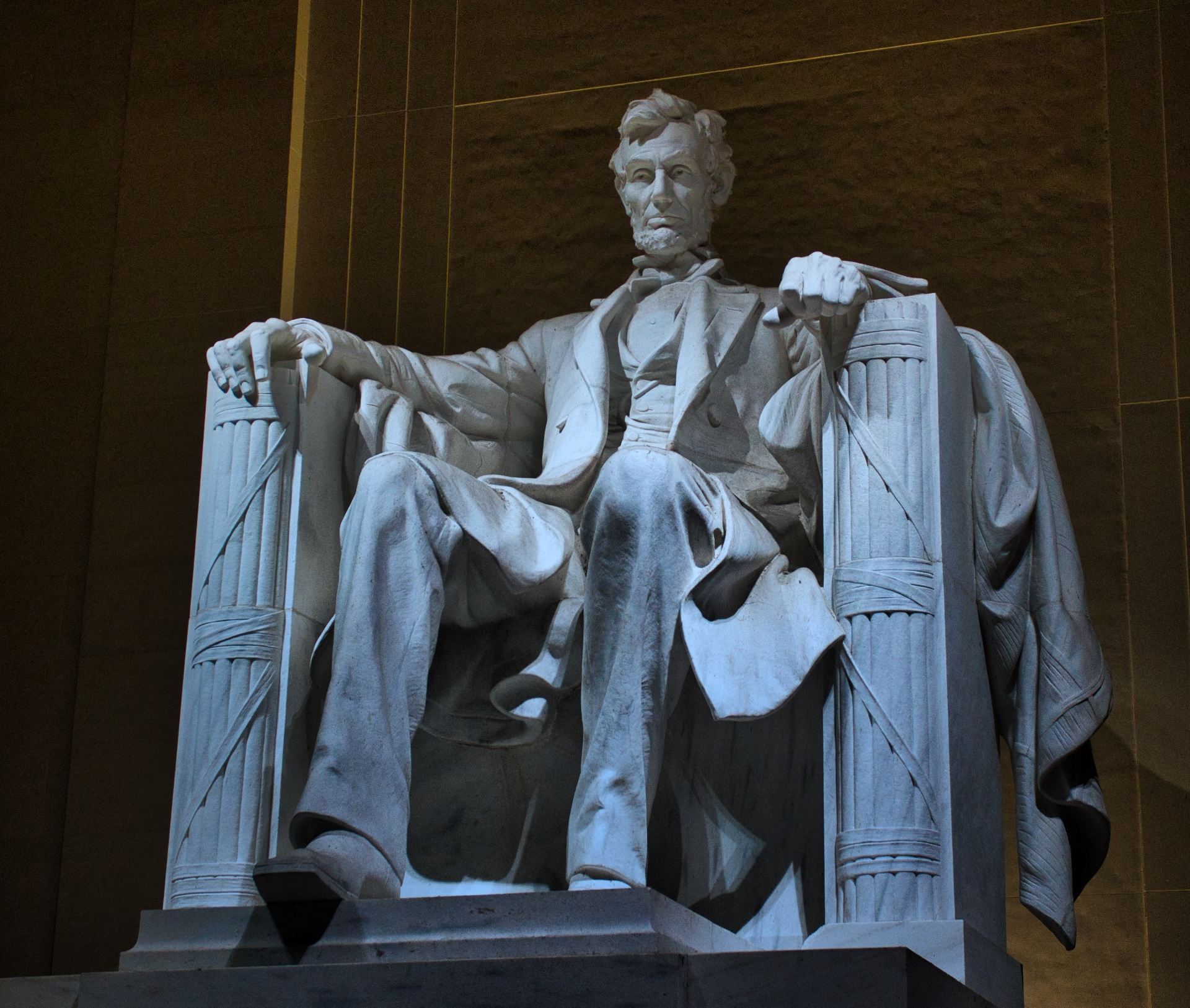 Statue of Abraham Lincoln at Lincoln Memorial in Washington D.C.